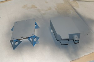 SFS painted with a first coat of primer.
